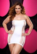 Naughty Girl Mini Dress - White - Plus