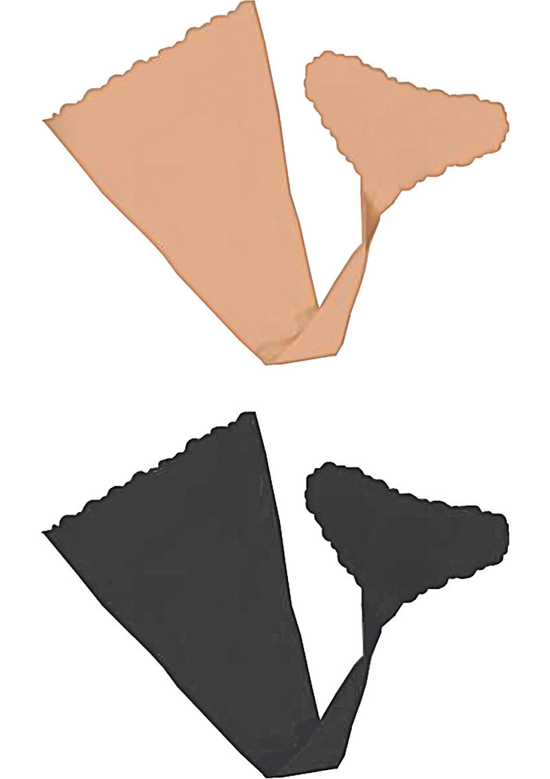 Hush Strapless Adhesive Panties 2 Each Per Pack Nude And Black Medium/large